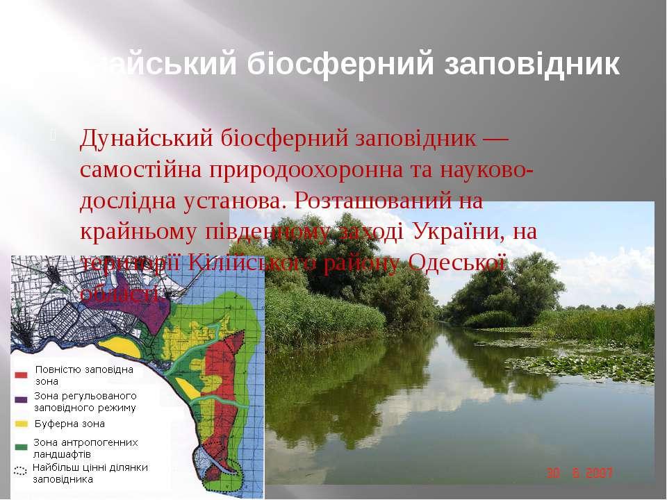 Дунайський біосферний заповідник Дунайський біосферний заповідник — самостійн...
