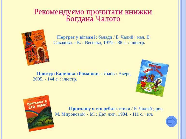 Рекомендуємо прочитати книжки Богдана Чалого Портрет у вігвамі : балади / Б. ...