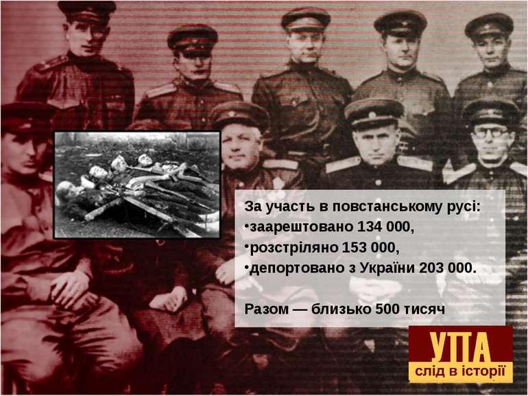 За участь в повстанському русі: заарештовано 134 000, розстріляно 153 000, де...