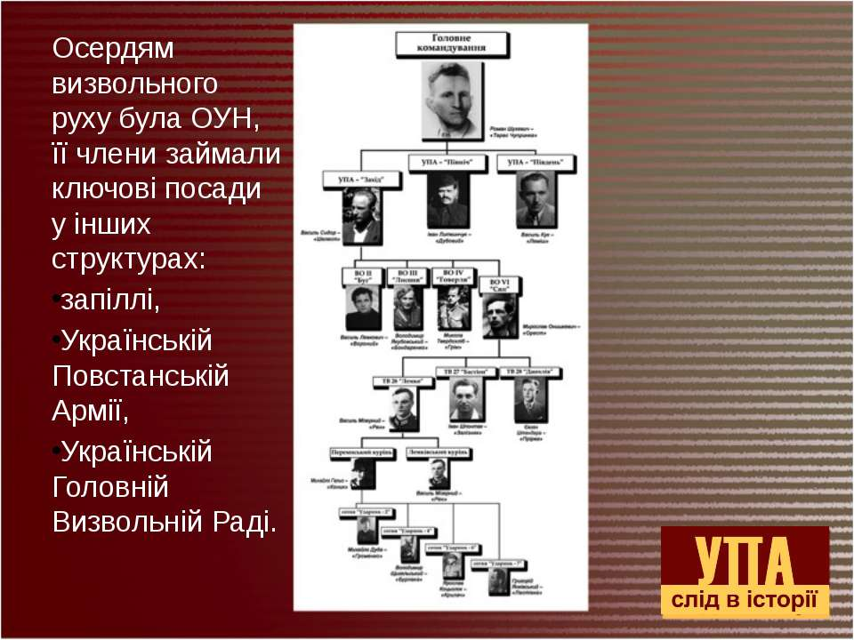 Осердям визвольного руху була ОУН, її члени займали ключові посади у інших ст...