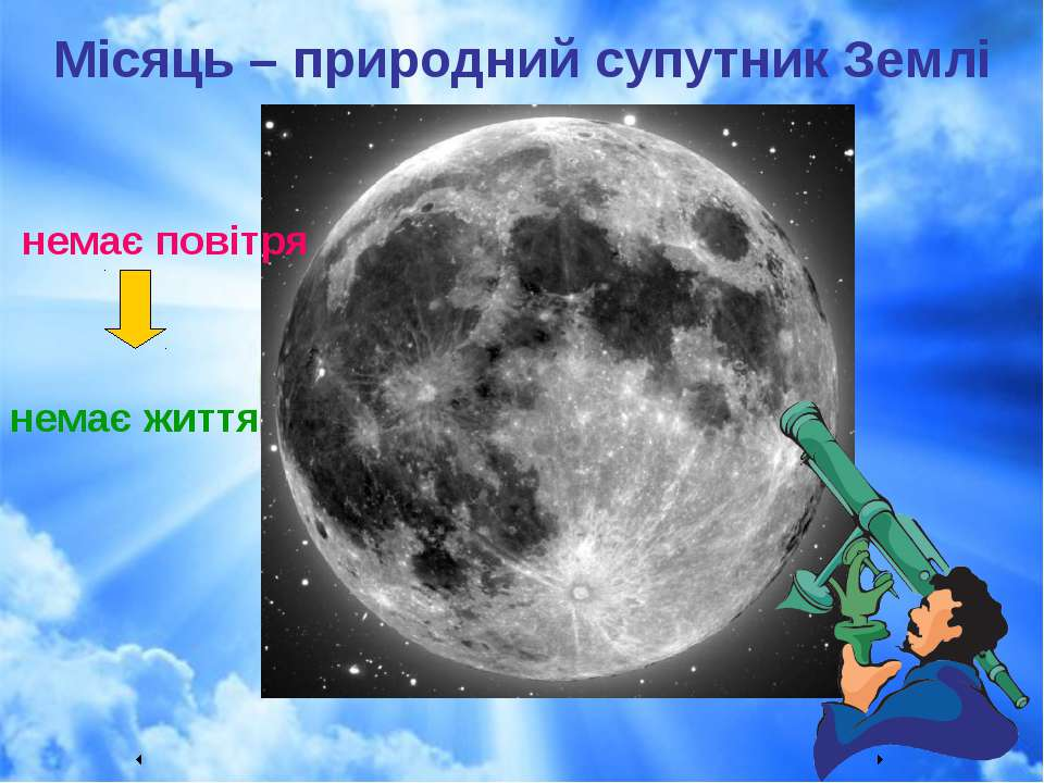 Місяць – природний супутник Землі немає повітря немає життя ...
