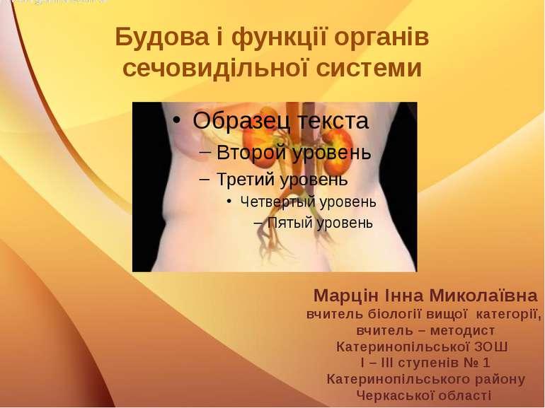 Будова і функції органів сечовидільної системи Марцін Інна Миколаївна вчитель...