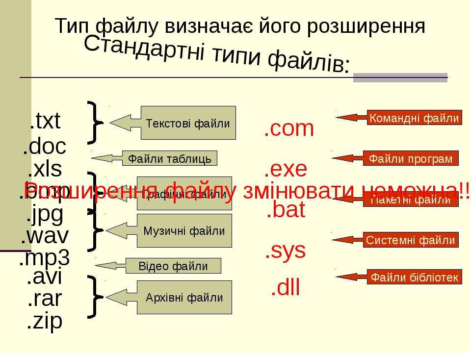 Стандартні типи файлів: Тип файлу визначає його розширення .txt .doc .xls .bm...