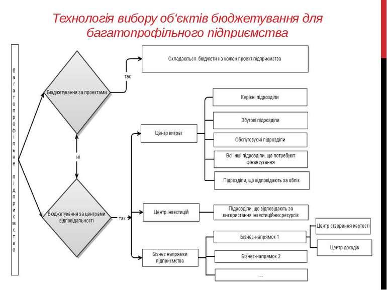 Технологія вибору об'єктів бюджетування для багатопрофільного підприємства