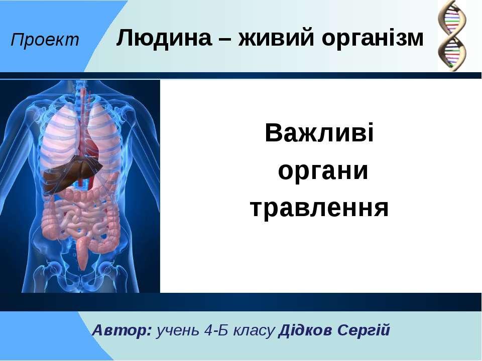 Важливі органи травлення Проект Людина – живий організм Автор: учень 4-Б клас...