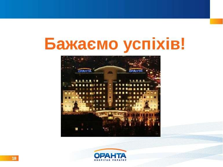 18 Бажаємо успіхів! Карта Украины с отделениями Распределение портфеля по рег...