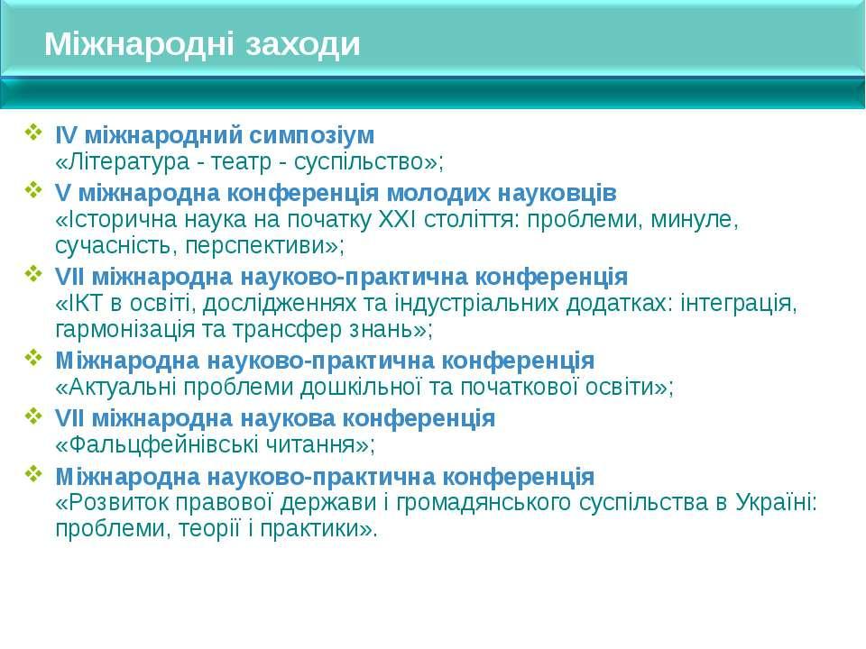 Міжнародні заходи ІV міжнародний симпозіум «Література - театр - суспільство»...