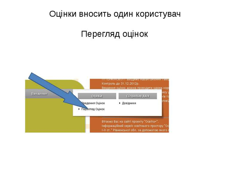 Оцінки вносить один користувач Перегляд оцінок