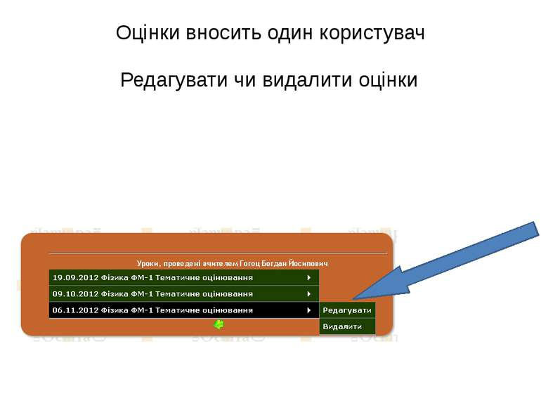Оцінки вносить один користувач Редагувати чи видалити оцінки