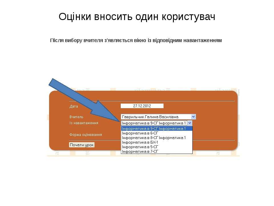 Оцінки вносить один користувач Після вибору вчителя з'являється вікно із відп...