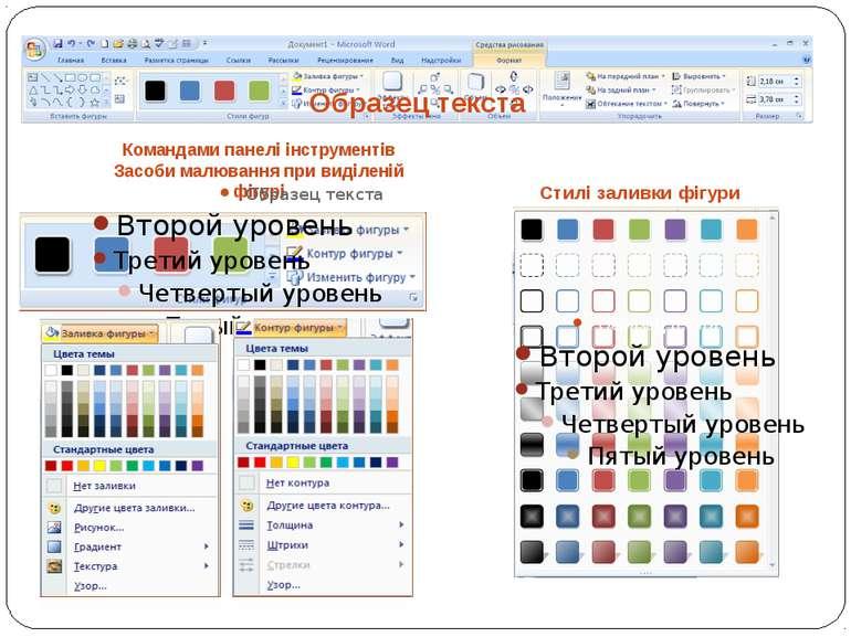 Командами панелі інструментів Засоби малювання при виділеній фігурі Стилі зал...