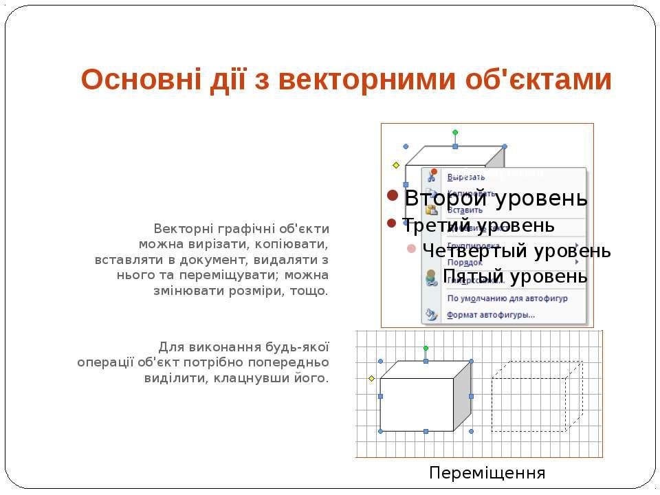 Векторні графічні об'єкти можна вирізати, копіювати, вставляти в документ, ви...