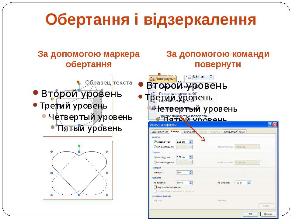 За допомогою маркера обертання За допомогою команди повернути Обертання і від...