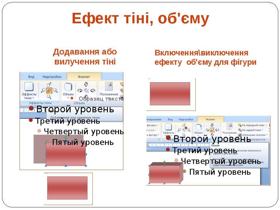 Додавання або вилучення тіні Включення\виключення ефекту об'єму для фігури Еф...