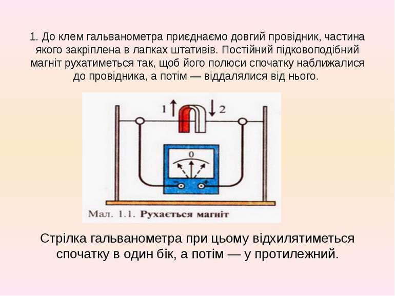 1. До клем гальванометра приєднаємо довгий провідник, частина якого закріплен...
