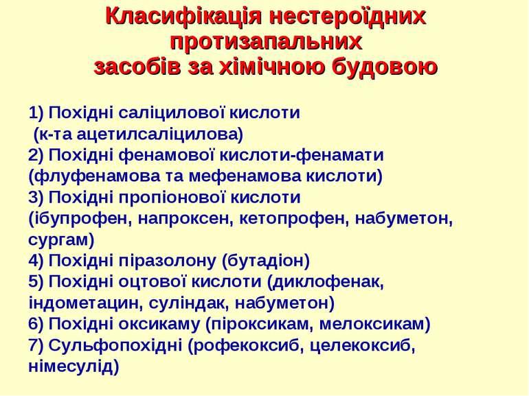 Класифікація нестероїдних протизапальних засобів за хімічною будовою 1) Похід...