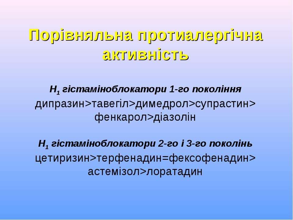 Порівняльна протиалергічна активність Н1 гістаміноблокатори 1-го покоління ди...