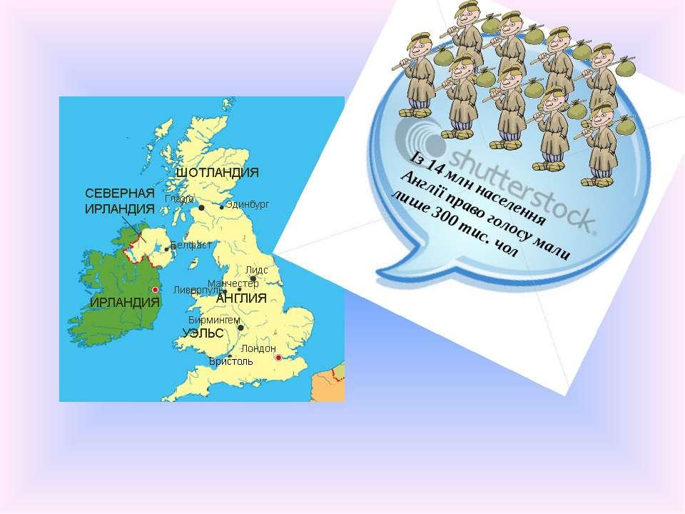 Із 14 млн населення Англії право голосу мали лише 300 тис. чол