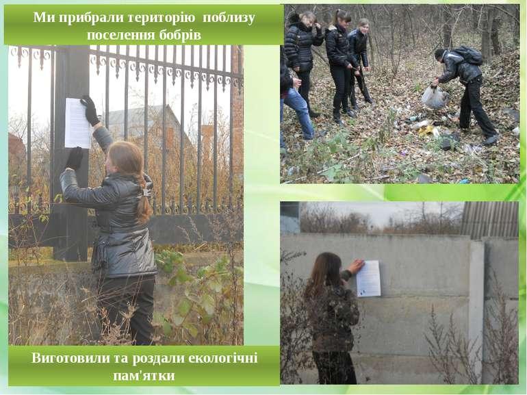 Виготовили та роздали екологічні пам'ятки Ми прибрали територію поблизу посел...