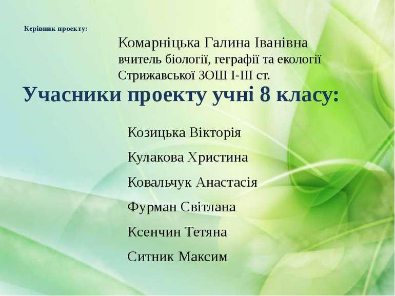 Керівник проекту: Козицька Вікторія Кулакова Христина Ковальчук Анастасія Фур...