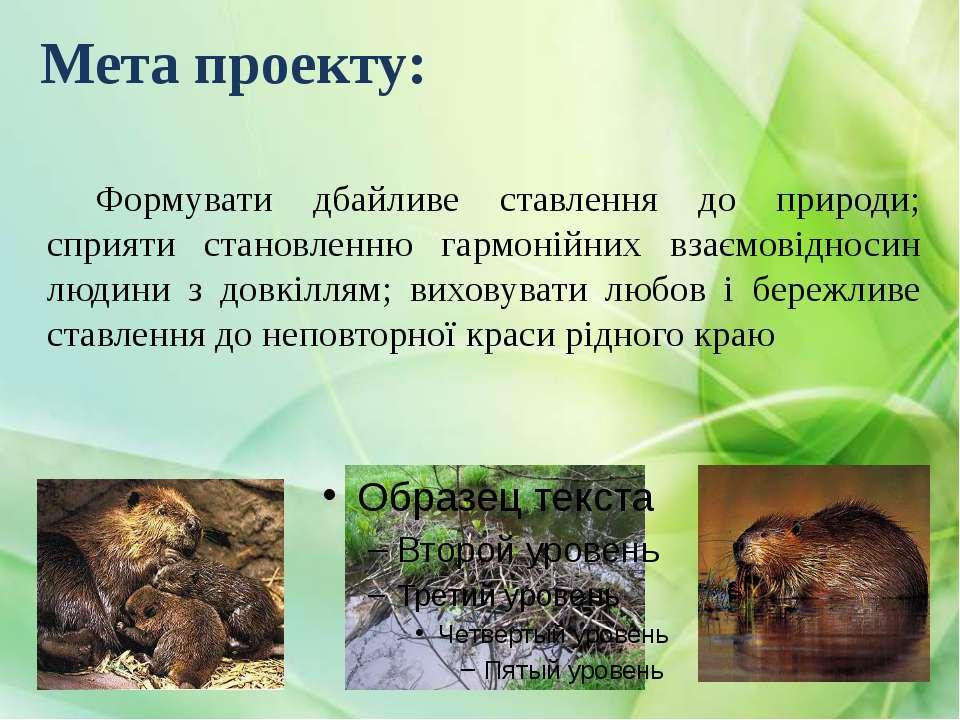 Мета проекту: Формувати дбайливе ставлення до природи; сприяти становленню га...