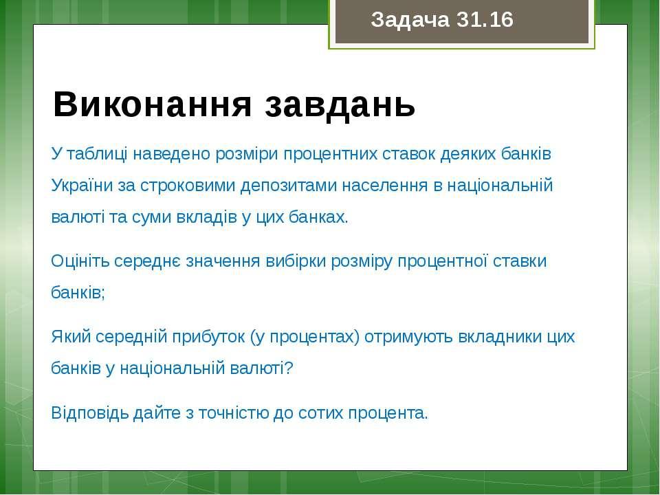 У таблиці наведено розміри процентних ставок деяких банків України за строков...
