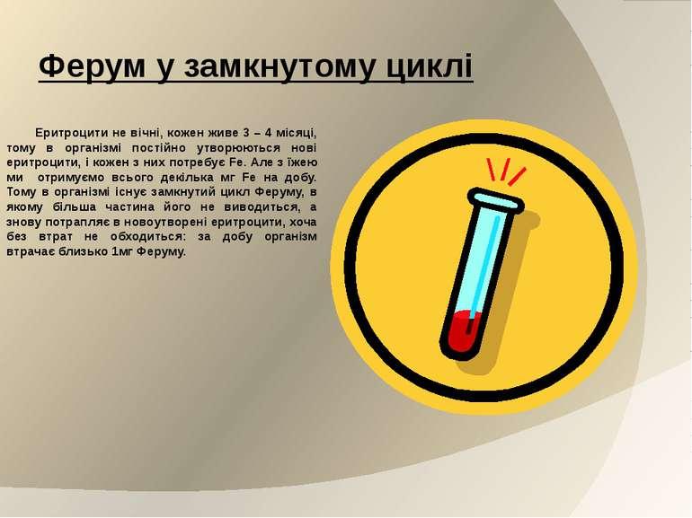 Ферум у замкнутому циклі Еритроцити не вічні, кожен живе 3 – 4 місяці, тому в...