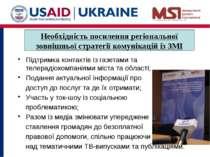 Підтримка контактів із газетами та телерадіокомпаніями міста та області; Пода...
