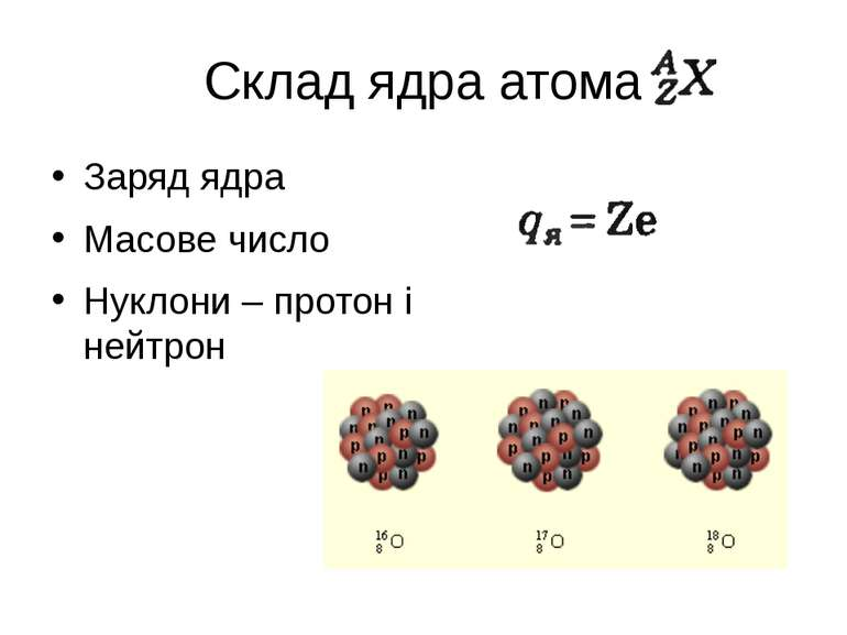 Склад ядра атома Заряд ядра Масове число Нуклони – протон і нейтрон