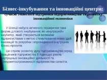 Бізнес-інкубування та інноваційні центри: сучасні технології підтримки підпри...