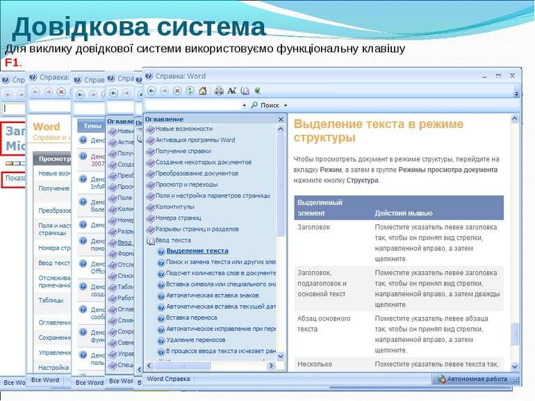 Довідкова система Для виклику довідкової системи використовуємо функціональну...
