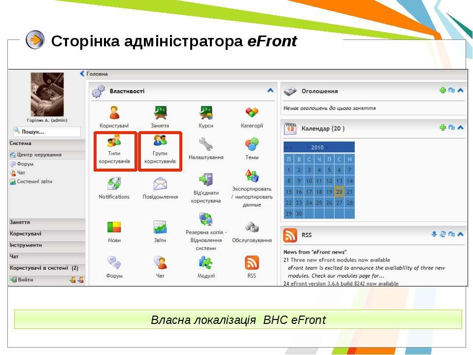 Сторінка адміністратора eFront Власна локалізація ВНС eFront