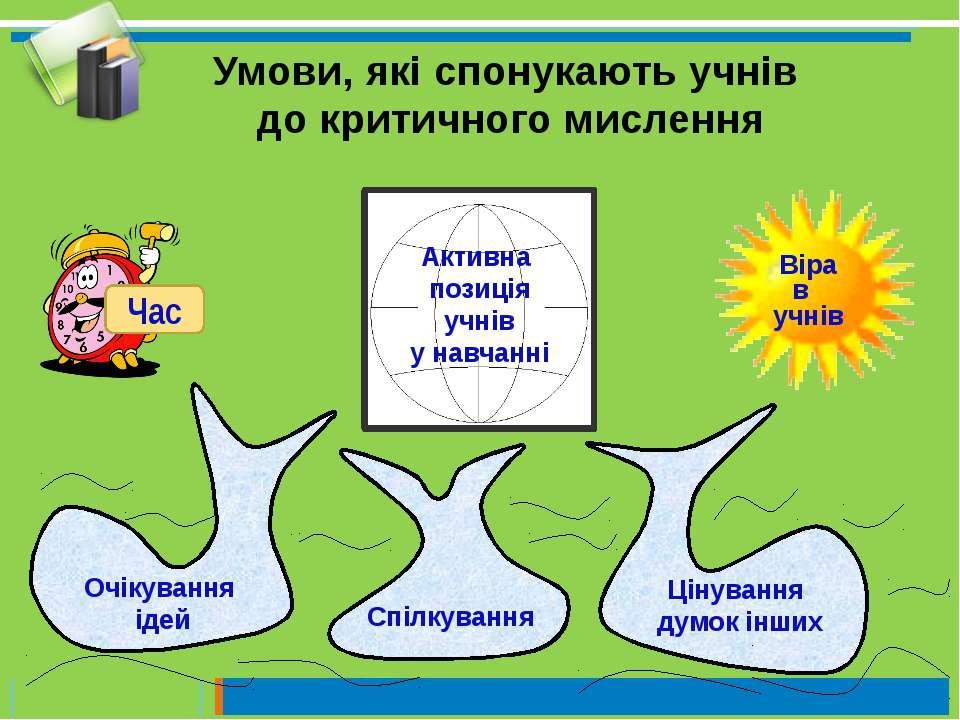 Активна позиція учнів у навчанні Спілкування Цінування думок інших Очікування...