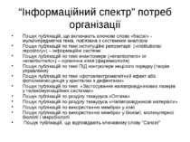 """(с) Інформатіо, 2010 """"Інформаційний спектр"""" потреб організації Пошук публікац..."""