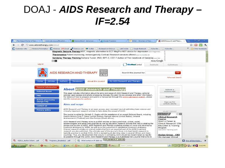 DOAJ - AIDS Research and Therapy – IF=2.54 (с) Інформатіо, 2011