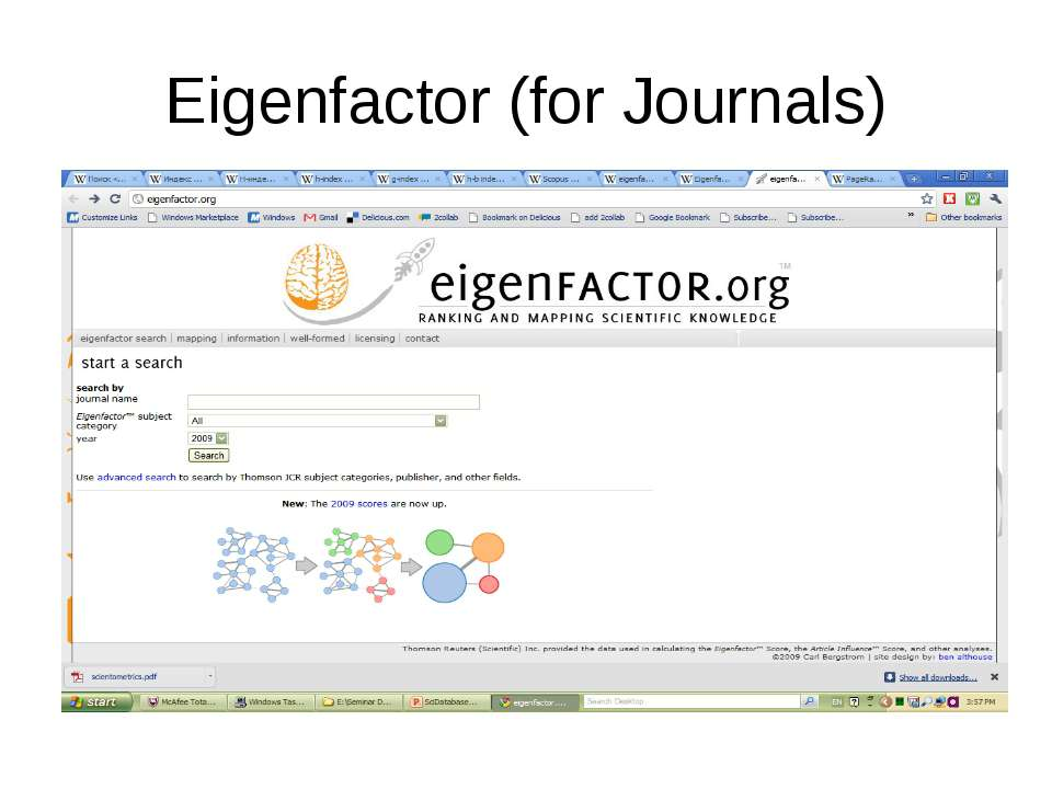 Eigenfactor (for Journals) (с) Інформатіо, 2011