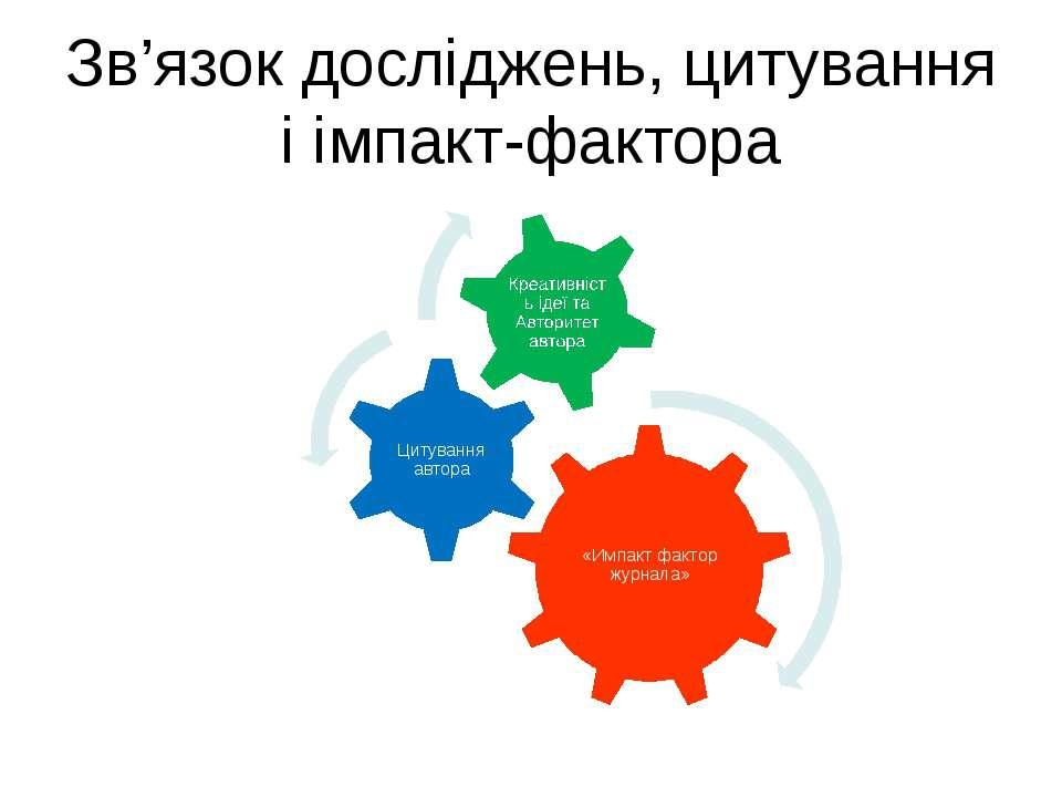 Зв'язок досліджень, цитування і імпакт-фактора (с) Інформатіо, 2011