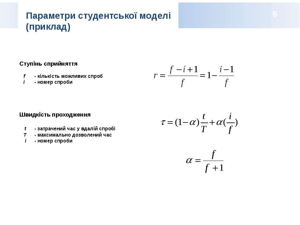 Ступінь сприйняття f - кількість можливих спроб i - номер спроби Швидкість пр...