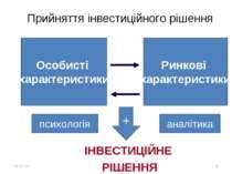 * * Прийняття інвестиційного рішення Особисті характеристики Ринкові характер...
