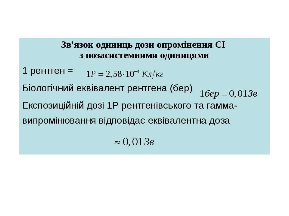 Зв'язок одиниць дози опромінення СІ з позасистемними одиницями 1 рентген = Бі...