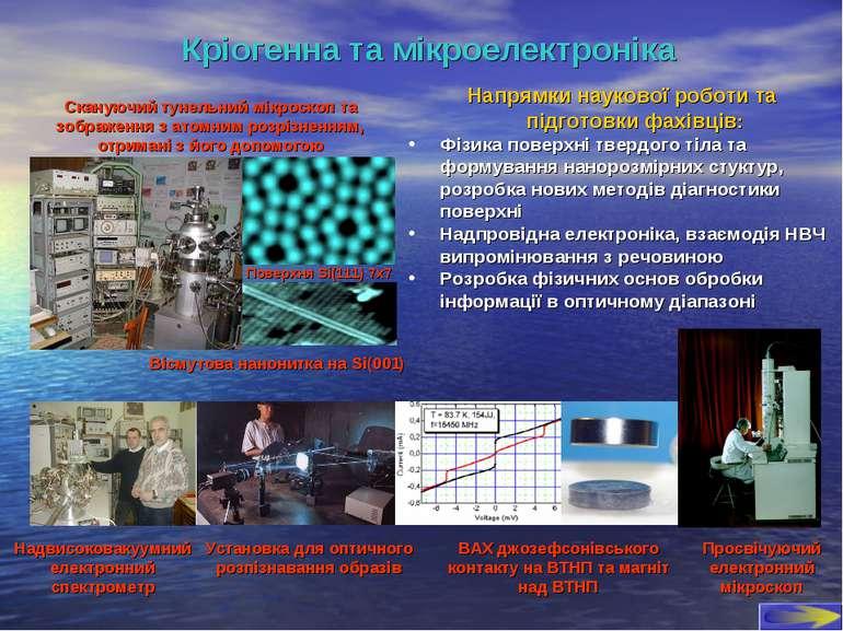 Кріогенна та мікроелектроніка Напрямки наукової роботи та підготовки фахівців...