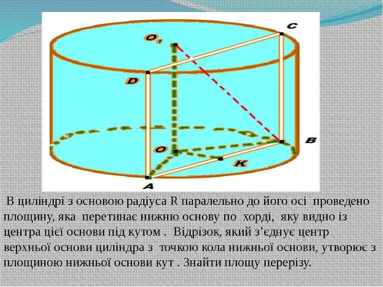 В циліндрі з основою радіуса R паралельно до його осі проведено площину, яка ...