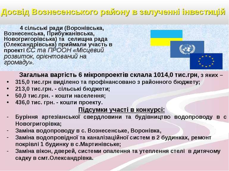 Досвід Вознесенського району в залученні інвестицій 4 сільські ради (Воронівс...
