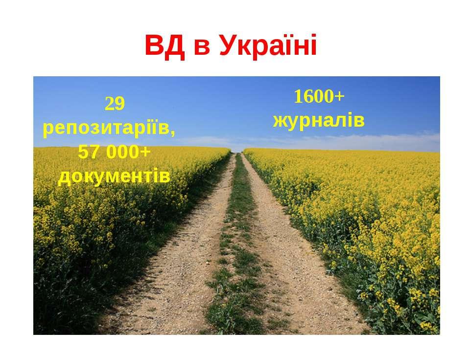 ВД в Україні 29 репозитаріїв, 57 000+ документів 1600+ журналів