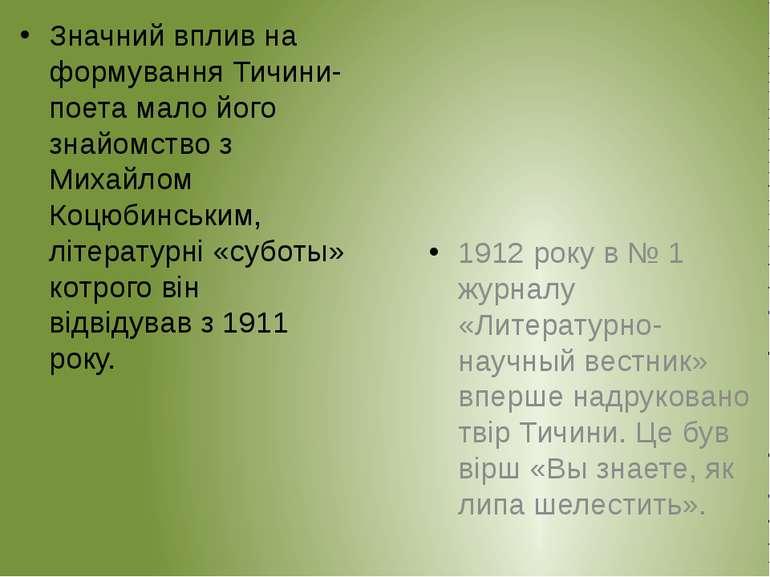 Значний вплив на формування Тичини-поета мало його знайомство з Михайлом Коцю...
