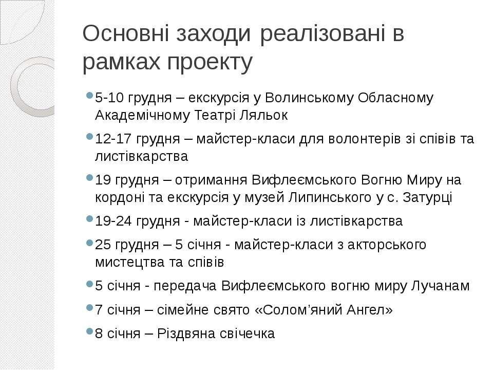 Основні заходи реалізовані в рамках проекту 5-10 грудня – екскурсія у Волинсь...