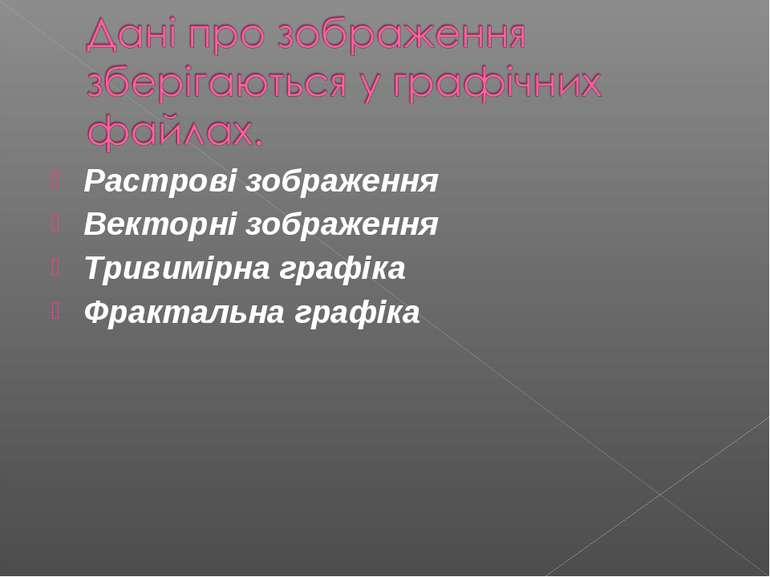 Растровi зображення Векторнi зображення Тривимiрна графiка Фрактальна графiка
