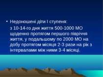 Недоношені діти I ступеня: з 10-14-го дня життя 500-1000 МО щоденно протягом ...