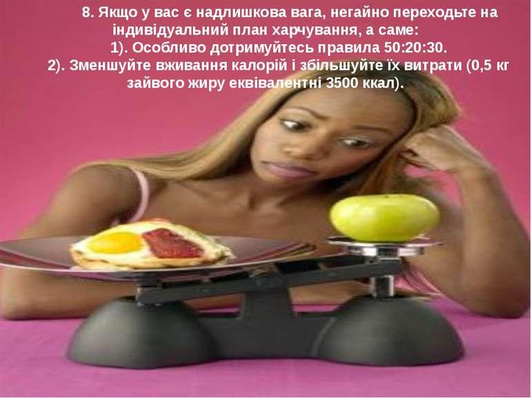 8. Якщо у вас є надлишкова вага, негайно переходьте на iндивiдуальний план ха...