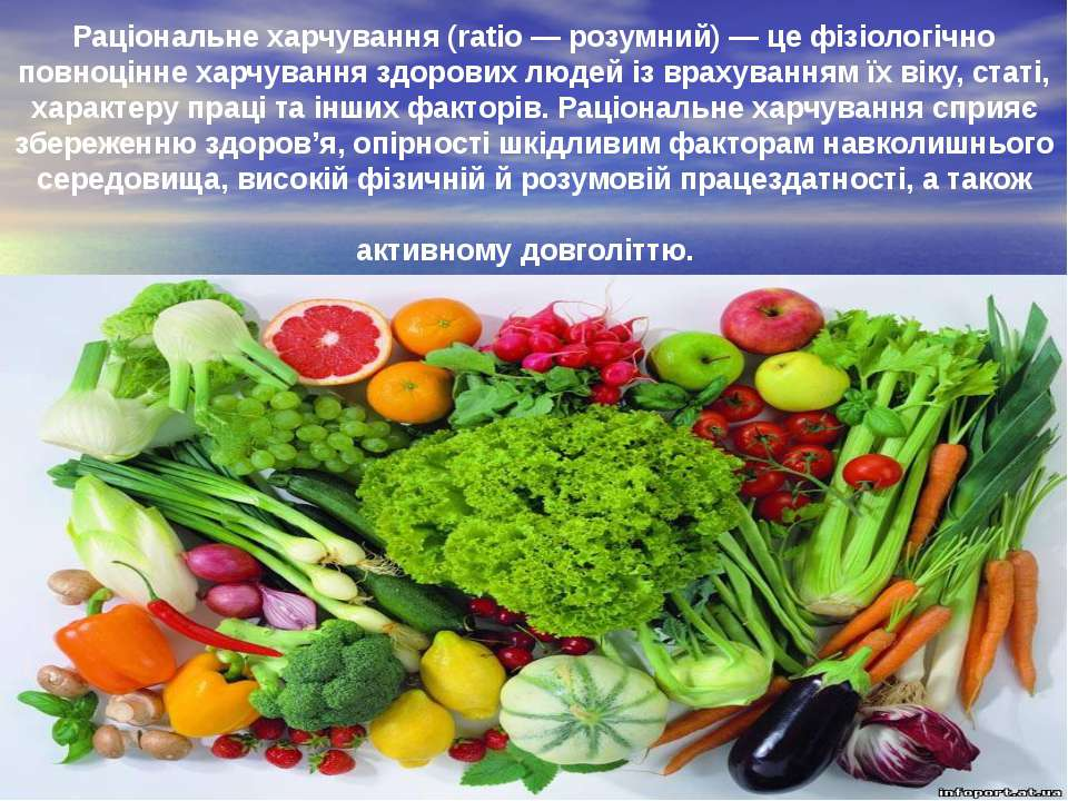 Рацiональне харчування (ratio — розумний) — це фiзiологiчно повноцiнне харчув...